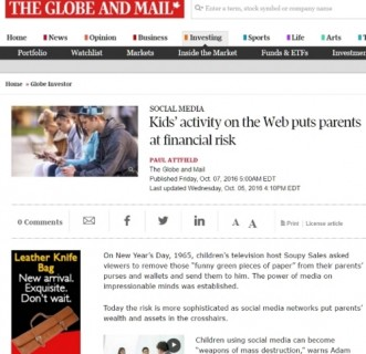 Kids' activity on the Web puts parents at financial risk